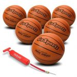 GoSports IndoorOutdoor Rubber Basketball Six Pack with Pump & Carrying Bag